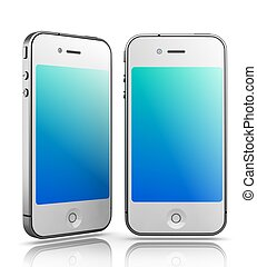 Iphone - Like White Smartphones on White Background, 3D...