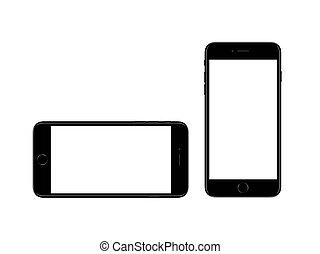 iphone, noir, plus, 7, mockup, jet