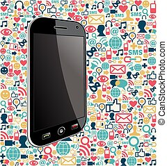 Iphone social media icon background - Smart phone generic on...