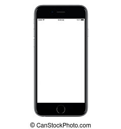 iPhone style directly front view of a modern black mobile...