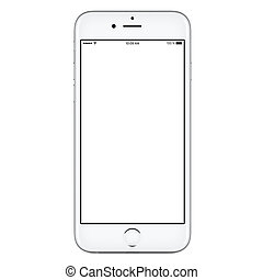 iPhone style front view of a modern white mobile smartphone mockup with blank screen isolated on white background. High-quality studio shot.