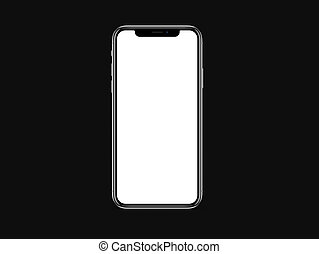 iPhone X blank white screen mockup on black color background mockup