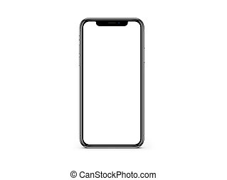 iPhone X black plain screen mockup on white color background mockup