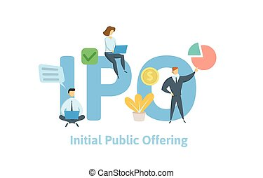 IPO, initial public offering. Concept with people, letters, and icons. Flat vector illustration. Isolated on white background.