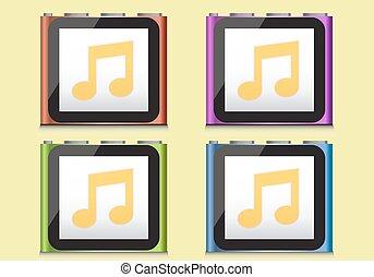 ipod, illustration - ipod music player, vector illustration