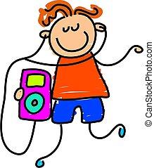 ipod kid - little boy listening to his ipod - toddler art...