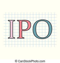 ipo(initial, público, offering), escrito, ligado, checkered, papel, folha
