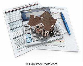 ipoteca, modulo domanda, con, uno, calcolatore, e, house.