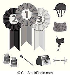 ippica, set, illustration., logo., vettore, disegno, da corsa, casato