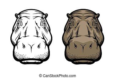 ippopotamo, faccia, ippopotamo, animale, africano, selvatico, icona