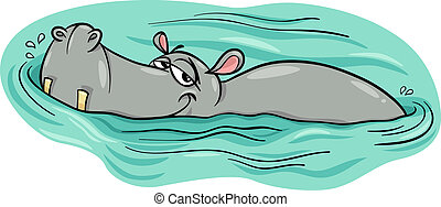 ippopotamo, fiume, ippopotamo, o, cartone animato