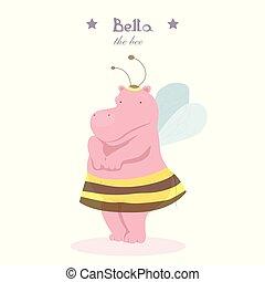 ippopotamo, poco, illustrazione, ape, vettore, costume, ragazza
