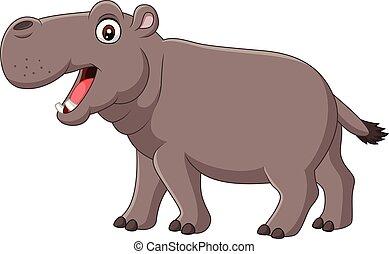 ippopotamo, sorridente, isolato, fondo, bianco, cartone animato