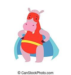 ippopotamo, superhero, vestito, carattere, mascherato, animale, capo, comico, vigilante