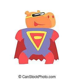 ippopotamo, superhero, vestito, comico, carattere, mascherato, animale, capo, geometrico, vigilante, sorridente