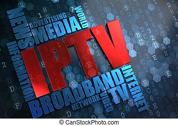 iptv., wordcloud, concept.