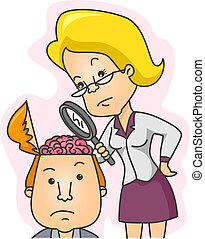 Illustration of a Woman Examining the Contents of a Man's Head