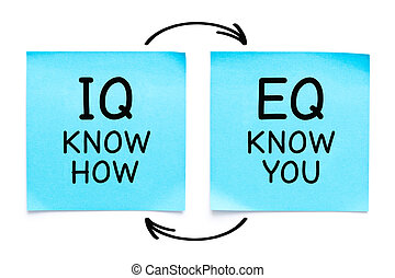 IQ Know How EQ Know You Sticky Notes Concept - Handwritten ...
