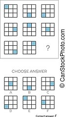 IQ test. Choose answer. Logical tasks composed of geometric ...