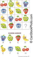 IQ test. Choose correct answer. Logical tasks composed of...