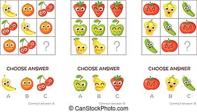 Logical tasks made up of fruits and vegetables