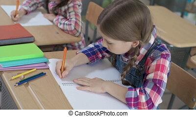 IQ Testing - High angle of class working individually
