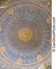 irán, mecset, kupola, keleti, mecset, dísztárgyak, isfahan, shah