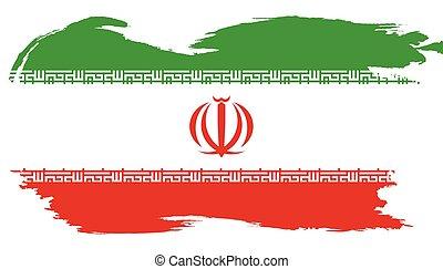 iráni, nemzeti határ, grunge, lobogó