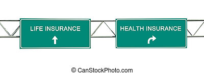 irányítások, fordíts, élet, és, health biztosítás