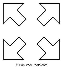 irány elpirul, különböző, fekete, ábra, hegyezés, áttekintés, nyílvesszö, ikon, négy, középcsatár