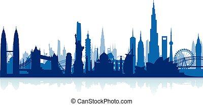 iránypont, híres, cityscape, backgrou