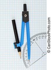 iránytű, és, szögmérő