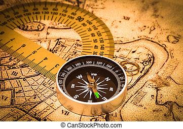 iránytű, képben látható, egy, kártya
