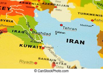 irã, e, iraque, ligado, mapa