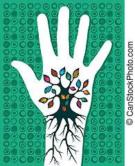 ir, árvore verde, mão