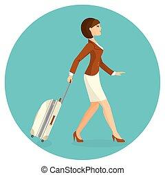 ir, aeroporto, mulher, terminal., mala