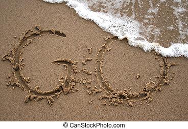ir, areia, -, escrita