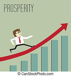 ir, através, mapa, prosperidade, pico