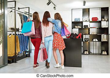 ir, backview, shopping., meninas