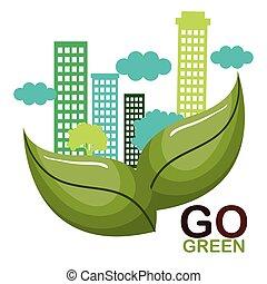 ir, cartel, ecología, verde