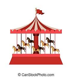 ir, cavalos, redondo, feliz