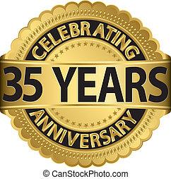 ir, celebrando, aniversário, 35, anos