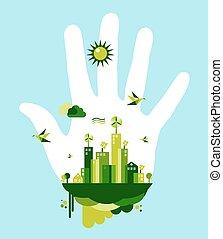 ir, cidade, conceito, verde, mão