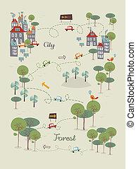 ir, cidade, desenho, verde