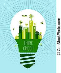 ir, ciudad, verde, idea