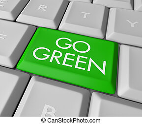 ir, computadora, llave verde