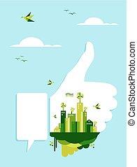 ir, conceito, verde, semelhante