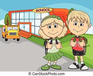 ir, crianças escola, caricatura