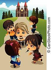 ir, crianças, igreja