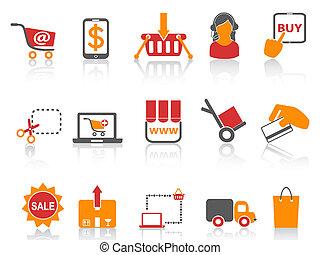 ir de compras en línea directa, iconos, naranja, serie